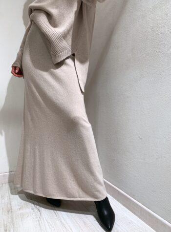 Shop Online Gonna lunga in maglia beige So Allure