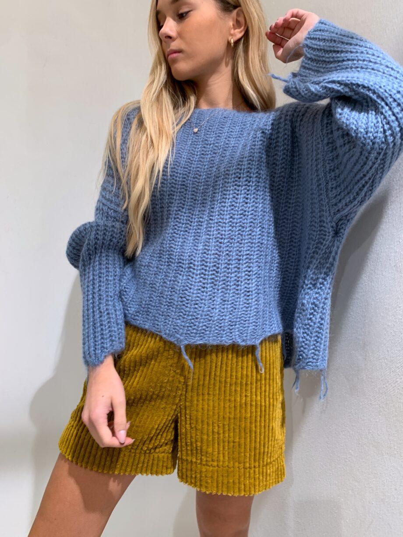 Shop Online Maglione azzurro con sfrangiare Souvenir
