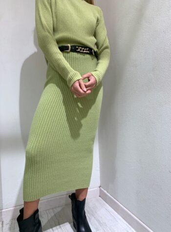 Shop Online Longuette in maglia a coste pistacchio Kontatto