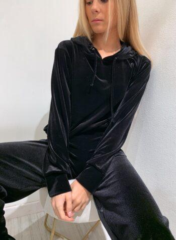 Shop Online Felpa in velluto nera con cappuccio Matinée