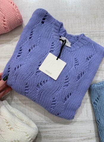 Shop Online Maglioncino girocollo morbido lilla con trafori Vicolo