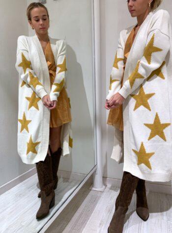 Shop Online Cardigan lungo panna con stelle senape So Allure