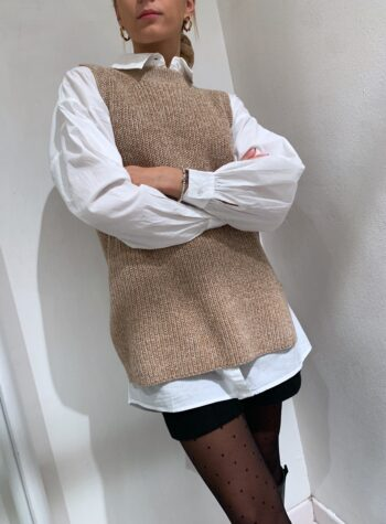Shop Online Gilet in maglia beige melangiato Vero Moda