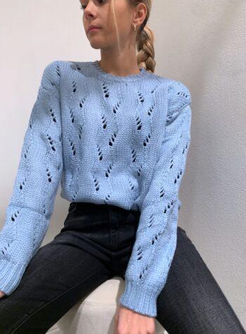 Shop Online Maglioncino girocollo morbido traforato azzurro Vicolo