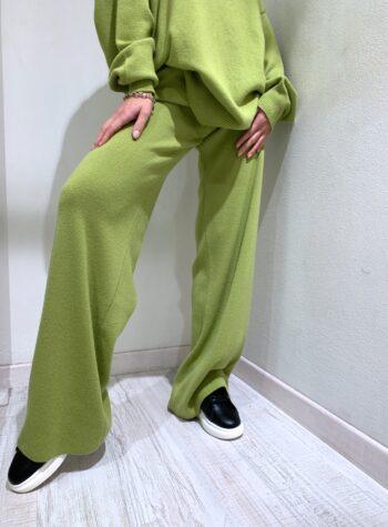 Shop Online Pantalone palazzo in maglia verde pistacchio Kontatto