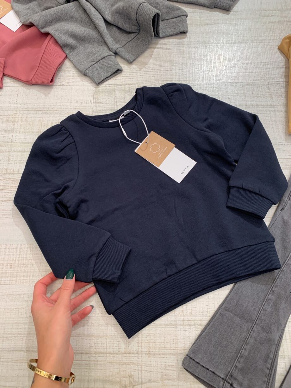 Shop Online Felpa girocollo blu maniche a sbuffo Name it