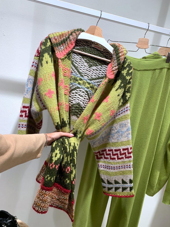 Shop Online Cardigan in maglia verde pistacchio stampa azteca Kontatto