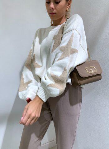 Shop Online Maglione over panna con stelle beige So Allure