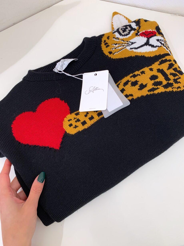 Shop Online Maglione nero stampa gatto So Allure
