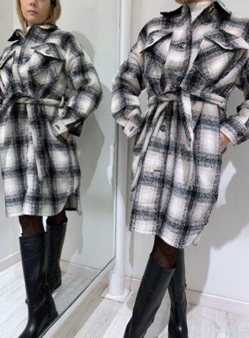 Shop Online Giaccone in lana a quadri panna e nero Vero Moda