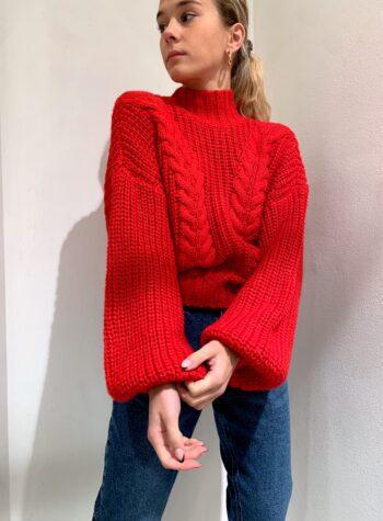 Shop Online Maglione rosso maniche palloncino Vero Moda