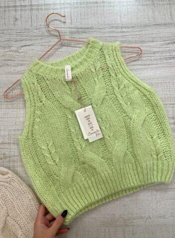Shop Online Gilet in lana lime con trecce Souvenir Kids
