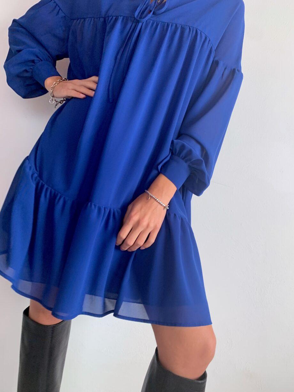 Shop Online Vestito corto in georgette a laze bluette So Allure