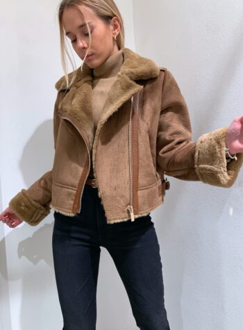 Shop Online Montone corto marrone con pelliccia Vicolo