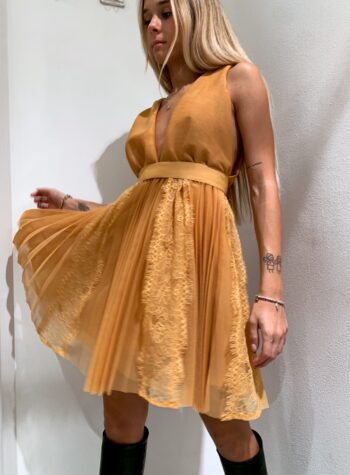 Shop Online Vestito corto senape in tulle e pizzo So Allure
