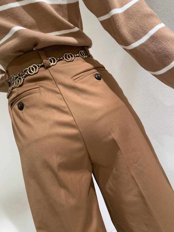 Shop Online Pantalone palazzo marrone con pince Vicolo