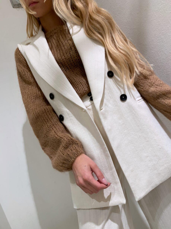 Shop Online Gilet doppiopetto burro in lana e lino Souvenir