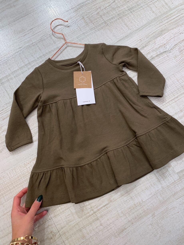Shop Online Vestito verde militare con balza Name it