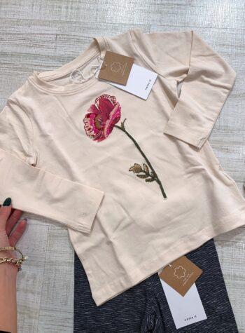 Shop Online Maglietta panna con ricamo rosa Name it