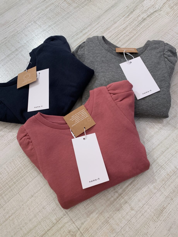 Shop Online Felpa girocollo grigio maniche a sbuffo Name it